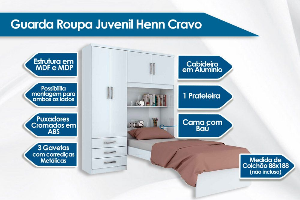 Guarda Roupa Henn Cravo c/ 4 Pts