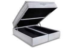 Conjunto Box Baú: Colchão Ortobom Pocket Freedom + Cama Box Baú Courino Bianco